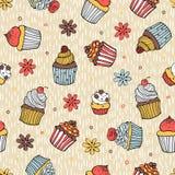 Άνευ ραφής σχέδιο χρώματος cupcake Στοκ εικόνα με δικαίωμα ελεύθερης χρήσης