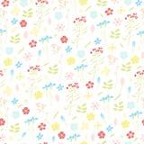 Άνευ ραφής σχέδιο χλοών και λουλουδιών λιβαδιών Στοκ εικόνες με δικαίωμα ελεύθερης χρήσης