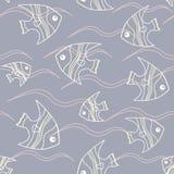Άνευ ραφής σχέδιο ψαριών και κυμάτων Στοκ εικόνες με δικαίωμα ελεύθερης χρήσης