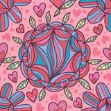 Άνευ ραφής σχέδιο ύφους γραμμών κύκλων λουλουδιών Στοκ φωτογραφίες με δικαίωμα ελεύθερης χρήσης