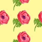 Άνευ ραφής σχέδιο anemone Watercolor Στοκ φωτογραφία με δικαίωμα ελεύθερης χρήσης