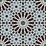 Άνευ ραφής σχέδιο Arabesque μπλε και μαύρος Στοκ Φωτογραφία