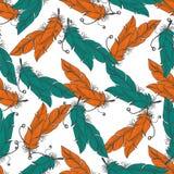 Άνευ ραφής σχέδιο Boho με τα φτερά απεικόνιση αποθεμάτων