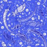 Άνευ ραφής σχέδιο Boho με τα φτερά Στοκ Εικόνες