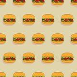 Άνευ ραφής σχέδιο Burgers Στοκ Εικόνα