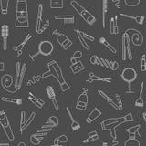 Άνευ ραφής σχέδιο Care&Beauty Εικονίδια καταστημάτων κουρέων απεικόνιση αποθεμάτων