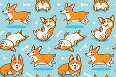 Άνευ ραφής σχέδιο Corgi Αστείο υπόβαθρο με τα σκυλιά κινούμενων σχεδίων Στοκ εικόνα με δικαίωμα ελεύθερης χρήσης