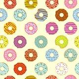 Άνευ ραφής σχέδιο donuts διανυσματική απεικόνιση