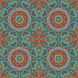 Άνευ ραφής σχέδιο doodle Ζωηρόχρωμη floral στρογγυλή διακόσμηση Στοκ εικόνες με δικαίωμα ελεύθερης χρήσης