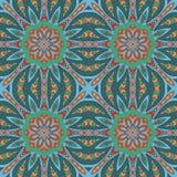 Άνευ ραφής σχέδιο doodle Ζωηρόχρωμη floral στρογγυλή διακόσμηση Στοκ εικόνα με δικαίωμα ελεύθερης χρήσης