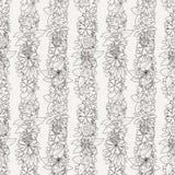 Άνευ ραφής σχέδιο Doodle με τα διάφορα λουλούδια, τα φύλλα και τους κλάδους doodle Στοκ εικόνες με δικαίωμα ελεύθερης χρήσης