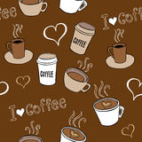 Άνευ ραφής σχέδιο Doodles καφέ Στοκ εικόνα με δικαίωμα ελεύθερης χρήσης