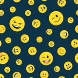 Άνευ ραφής σχέδιο Emoticon στο σκοτάδι Στοκ Εικόνες