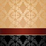 Άνευ ραφής σχέδιο, floral διακοσμητικό υπόβαθρο, καφέ κορδέλλα Στοκ Φωτογραφίες