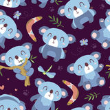 Άνευ ραφής σχέδιο koala ύφους κινούμενων σχεδίων Στοκ εικόνες με δικαίωμα ελεύθερης χρήσης