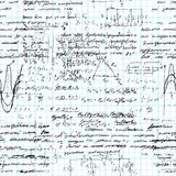Άνευ ραφής σχέδιο Math χειρόγραφο σε χαρτί πλέγματος copybook στοκ φωτογραφίες