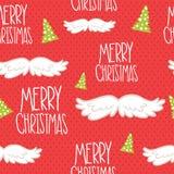 Άνευ ραφής σχέδιο mustache Χαρούμενα Χριστούγεννας. Στοκ εικόνες με δικαίωμα ελεύθερης χρήσης