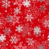 Άνευ ραφής σχέδιο snowflakes, άσπρος και γκρίζος στο κόκκινο απεικόνιση αποθεμάτων