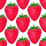 Άνευ ραφής σχέδιο Watercolor Ανασκόπηση φραουλών Σχέδιο σχεδίων Watercolor Διανυσματική απεικόνιση θερινών φρούτων Στοκ Εικόνες