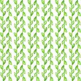 Άνευ ραφής σχέδιο Watercolor Απλό συρμένο χέρι υπόβαθρο άνοιξη Πράσινος βγάζει φύλλα και διακλαδίζεται EPS διάνυσμα im Στοκ Φωτογραφίες