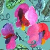 Άνευ ραφής σχέδιο watercolor Διανυσματική ανασκόπηση Στοκ Φωτογραφίες
