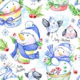 Άνευ ραφής σχέδιο Watercolor με τα αστεία snowmens και τα μικρά πουλιά Στοκ Φωτογραφίες