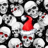 Άνευ ραφής σχέδιο Watercolor με τα περιγραμματικά κρανία στο καπέλο Santa Νέο έτος Cretive διαθέσιμος εικονογράφος απεικόνισης αρ Στοκ Φωτογραφίες
