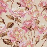 Άνευ ραφής σχέδιο Watercolor με τα τριαντάφυλλα Στοκ Φωτογραφία