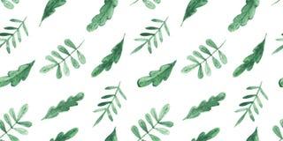 Άνευ ραφής σχέδιο Watercolor με τα φύλλα Στοκ Εικόνες