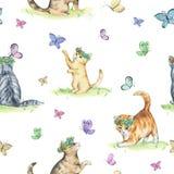 Άνευ ραφής σχέδιο Watercolor με τα χαριτωμένα γατάκια Στοκ Εικόνα