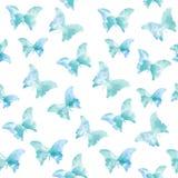 Άνευ ραφής σχέδιο Watercolor με τις μπλε πεταλούδες Στοκ Εικόνες