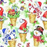 Άνευ ραφής σχέδιο Watercolor με το χιονάνθρωπο κινούμενων σχεδίων, το καπέλο Santa και τα δώρα νέο έτος διαθέσιμος εικονογράφος α Στοκ Εικόνες