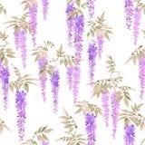 Άνευ ραφής σχέδιο watercolor, συστάδες των ανοικτό βιολετί λουλουδιών wisteria Στοκ Εικόνες