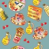 Άνευ ραφής σχέδιο watercolor τροφίμων ελεύθερη απεικόνιση δικαιώματος
