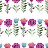 Άνευ ραφής σχέδιο watercolor των wildflowers Στοκ φωτογραφία με δικαίωμα ελεύθερης χρήσης