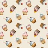 Άνευ ραφής σχέδιο Watercolor cupcake Διανυσματική απεικόνιση