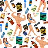 Άνευ ραφής σχεδίων αθλητών γυμναστικής Bodybuilders υποβάθρου αθλητικών τροφίμων διατροφής συμβόλων ικανότητας ποτό σκονών διατρο απεικόνιση αποθεμάτων
