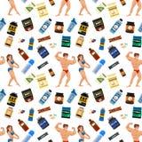 Άνευ ραφής σχεδίων αθλητών γυμναστικής Bodybuilders υποβάθρου αθλητικών τροφίμων διατροφής συμβόλων ικανότητας ποτό σκονών διατρο ελεύθερη απεικόνιση δικαιώματος