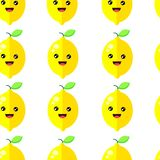 Άνευ ραφής σχεδίων διάνυσμα λεμονιών χαμόγελου χαριτωμένο ελεύθερη απεικόνιση δικαιώματος