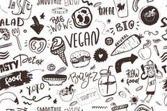 Άνευ ραφής σύγχρονο vegan σχέδιο με τα healty τρόφιμα Συρμένα χέρι στοιχεία σκίτσων Ύφος Hipster ελεύθερη απεικόνιση δικαιώματος