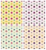 άνευ ραφής σύνολο προτύπων Απλά λουλούδια Στοκ Φωτογραφία