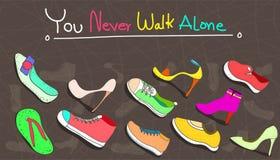Άνευ ραφής σύνολο σχεδίων παπουτσιών γυναικών ελάχιστο εκλεκτής ποιότητας ύφος σχεδίου σχεδίων o ελεύθερη απεικόνιση δικαιώματος