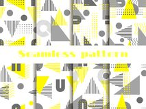 Άνευ ραφής σύνολο σχεδίων της Μέμφιδας Γεωμετρικά στοιχεία Μέμφιδα στο ύφος 80 ` s διάνυσμα Στοκ Φωτογραφία