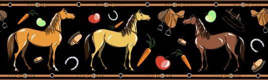 Άνευ ραφής σύνορα εργαλείων καρφιών αλόγων και πλατών αλόγου οδηγώντας στο Μαύρο Ίππειος αθλητισμός στο πλαίσιο ζωνών δέρματος απεικόνιση αποθεμάτων