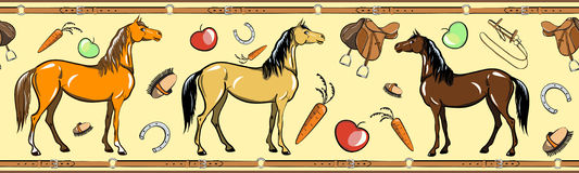 Άνευ ραφής σύνορα εργαλείων καρφιών αλόγων και πλατών αλόγου οδηγώντας Ίππειος αθλητισμός στο πλαίσιο ζωνών δέρματος απεικόνιση αποθεμάτων