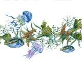 Άνευ ραφής σύνορα ζωής θάλασσας θερινού εκλεκτής ποιότητας Watercolor ελεύθερη απεικόνιση δικαιώματος
