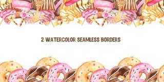 Άνευ ραφής σύνορα Watercolor με τα γλυκά ελεύθερη απεικόνιση δικαιώματος