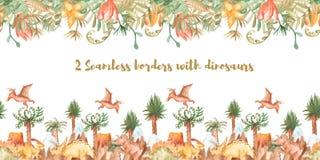 Άνευ ραφής σύνορα Watercolor, πλαίσιο με τους δεινοσαύρους και τις εγκαταστάσεις ελεύθερη απεικόνιση δικαιώματος