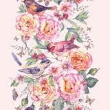Άνευ ραφής σύνορα Watercolor Τα πουλιά και αυξήθηκαν Στοκ Εικόνες