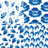 άνευ ραφής σύνολο 4 προτύπω&n Εκλεκτής ποιότητας λαϊκά λουλούδια, φύλλα, κλάδος Στοκ Φωτογραφίες